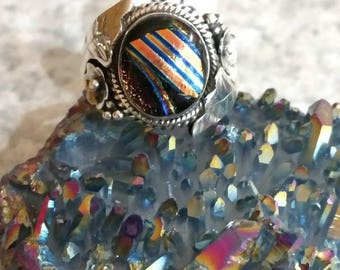 Fancy Dichroic Glass Ring Size 8 1/2