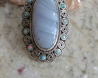 Gorgeous Blue Lace Agate and Opal Necklace