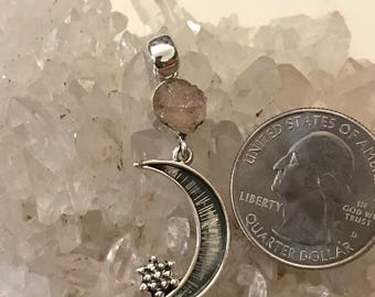 Rough Morganite over the Moon Pendant Necklace