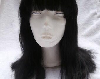 100% Brazilian Human Hair Wig Long Black With Bangs