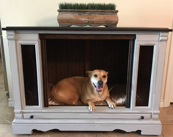 AVAILABLE ** Hand Painted | Upcycled  Dog Bed | Cabinet | Pet Furniture