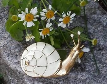 Vintage Snail Pin signed Trifari