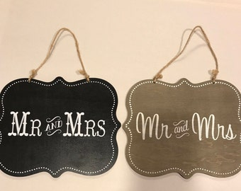 Mr. And Mrs. Decorative Wood sign, perfect for the bride and groom chairs or any part of your wedding Decor. Your choice of brown or black