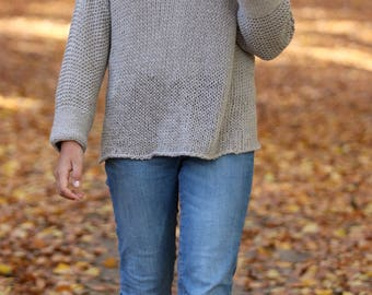 Hand Knitted Linen Sweater, Loose Knit Sweater, Linen Sweater, Gray Knit Sweater,  Off Shoulder Sweater, Linen Clothing