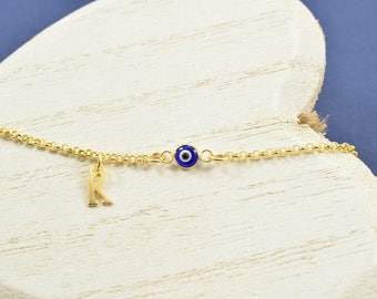 Greek Letter Bracelet, Greek Evil Eye Bracelet, Evil Eye Bracelet, Evil Eye Jewelry, Bracelet with Gold Evil Eye, Evil Eye For Women