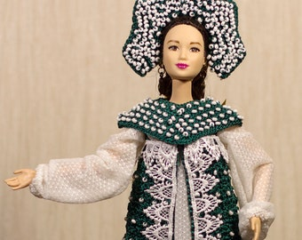 Handmade crocheted historical Russian Medieval gown The Mistress of the Copper Mountain