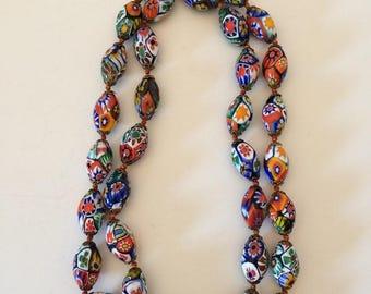 Vintage Venetian Murano Millefiori Glass Bead Necklace