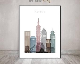 Taipei wall art print, Poster, Taipei skyline, Wall Art, distressed, cityscape, Travel gift, City art, Home Decor, ArtPrintsVicky
