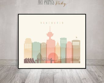 Vancouver print, Poster, Wall art, Vancouver skyline, Canada cityscape City poster Typography art Home Decor Digital Print ArtPrintsVicky