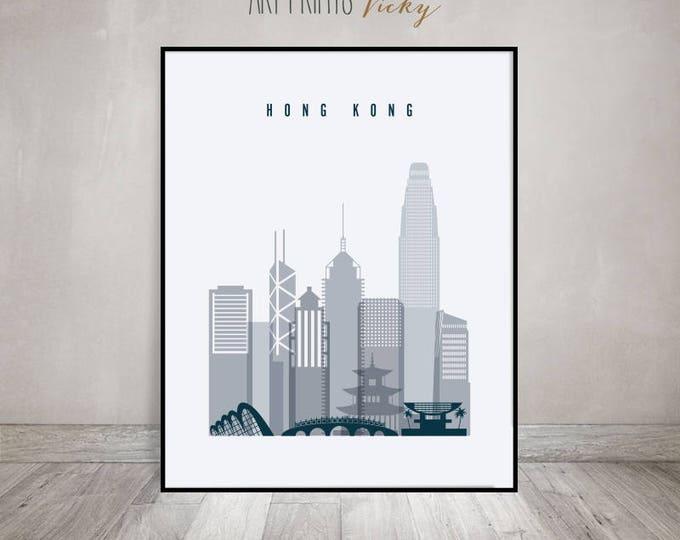 Hong Kong poster, Hong Kong art print, Hong Kong skyline, Wall art, Travel decor, Housewarming gift, Home Decor, ArtPrintsVicky