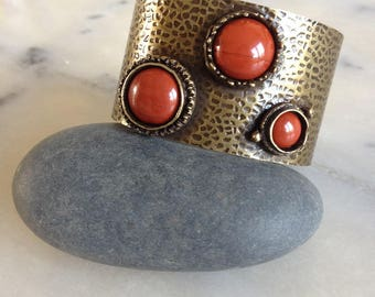 Cuff Bracelet, hammered brass bronze antique, red Jasper cabochons, unique piece.