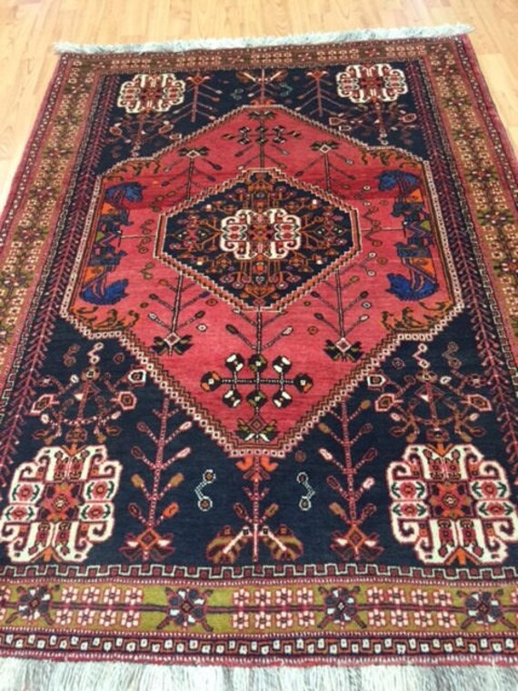 "3'4"" x 4'6"" Persian Shiraz Oriental Rug - Hand Made - 100% Wool"