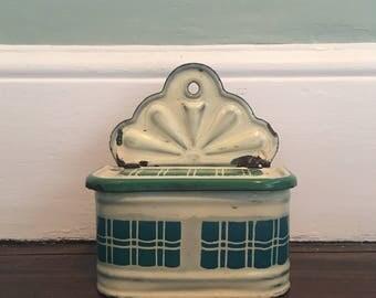 French Vintage 1950s Enamel Salt Container