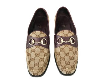 GUCCI Vintage Logo Print Loafers 80's GG Monogram Beige Canvas Horsebit Loafers Driving Shoes Smoking Slippers Sz 39.5