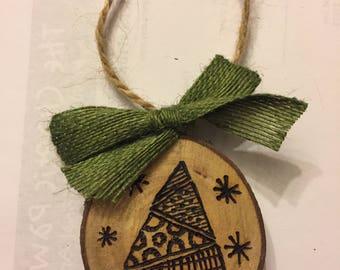 Wood Slice Ornament, Zentangle Tree, Wood Burned Ornament, Zentangle Gift Tag