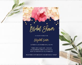Printable Bridal Shower Brunch Invitation, Bridal Brunch Invite, Brunch with the Bride, Floral, Navy Blue, Gold, Peach & Pink Peonies, Roses