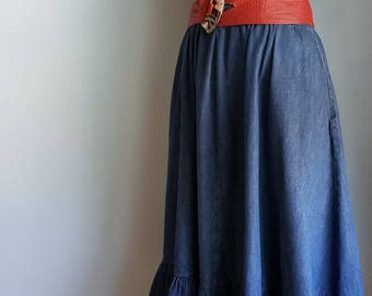 vintage denim ruffle cotton skirt