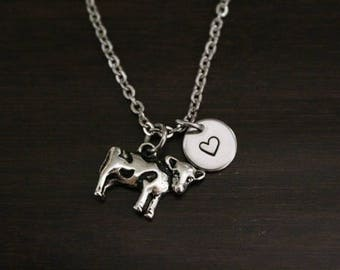 Cow Necklace - Cow Gift - Cow Lover - Animal Lover - Farm Gift - Farmer Gift - Cow Jewelry - Calf Necklace - I/B/H