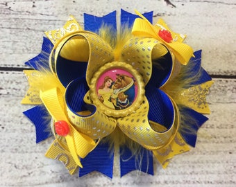 Beauty And The Beast Hair Bow Princess Belle Hair Bow Beauty and The Beast Stacked Hair Bow Belle Hair bow Belle Boutique Bow