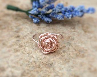 NICKEL FREE Rose Gold Rose Ring, Flower Ring, Rose Gold Ring, Rose Ring, Gift for Her, Valentine Ring, Valentine Gift