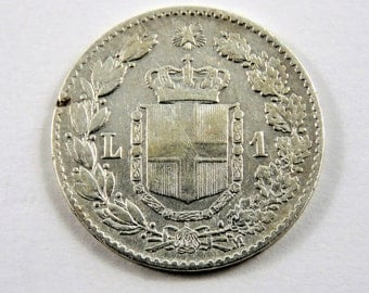 Italy 1887 M Silver One Lira Coin.