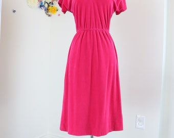 1970s Dress - Pink Velour Dress - Flare Midi - Short Sleeve - Sporty - Cream Trim - Elastic Waist - Summer Spring - Small Medium