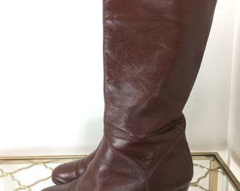 "1980s Brown Leather Boots - Vintage Tall Dark Brown Leather Boots - Size 7.5 US - 2.5"" High Heel - Boho Fall Boots - Excellent Condition"