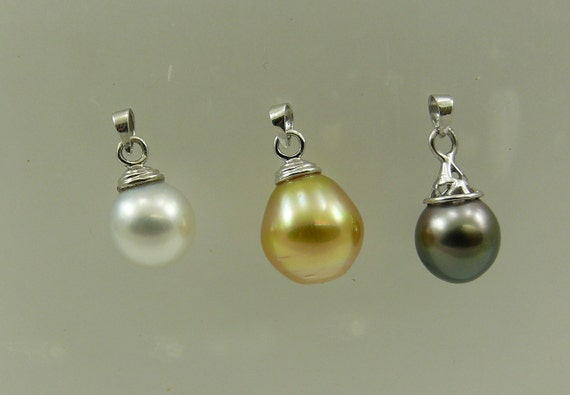 South Sea White, Golden, Black Tahitian Pearl Pendant with 14k White Gold