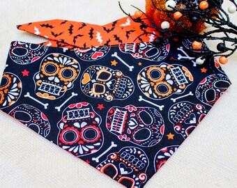 "Skulls Dog Bandana - ""Batty Skulls"", Bat Dog bandana, Halloween dog bandana"