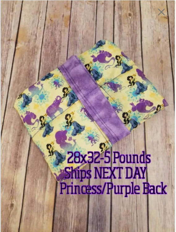 Princess, 5 Pound, WEIGHTED BLANKET, 5 pounds, Ready To Ship, 28x32 for Autism, Sensory, ADHD, Calming, Anxiety,
