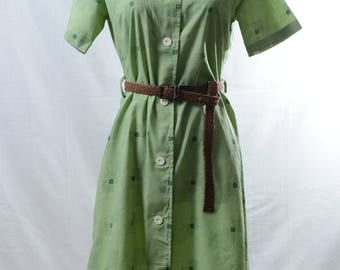 Vintage green button up summer printed dress