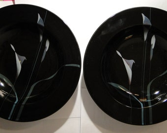 "TWO Mikasa Opus Black Soup Bowls 9 1/4"" FK701 (Set of 2)  EXCELLENT!"
