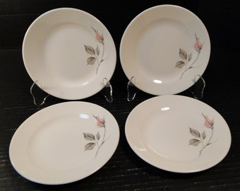 "FOUR Knowles Dawn Rose Designed by Kalla Bread Plates 6 1/2"" Set of 4 EXCELLENT!"