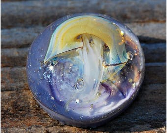 Ultra violet jellyfish Lampwork beads lavender Handmade Pendant Cabochon Glass jewelry womens jewellery