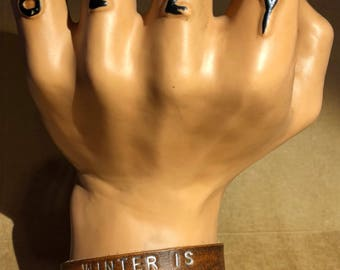 Winter Is Coming-- Leather Cuff Bracelet