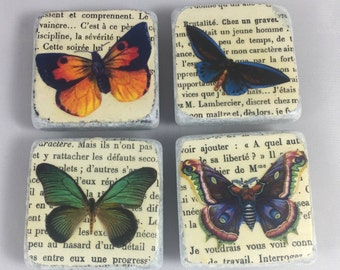 Vintage French Butterfly Magnets