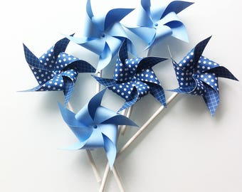 6 blue pinwheels - paper (120gr) mounted on vintage paper straws.