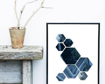 Modern Scandi Print, Blue Geometric Print, Geometric Art Print, Abstract Art Print, Scandinavian Art,  Giclee print, Wall Art