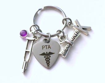 PTA Graduation Gift for Physical Therapist Assistant Keychain, Therapy Key Chain, Grad Present crutches Keyring women Initial Birthstone her