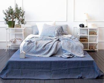 Soft linen duvet set blue white striped - nautic pure linen duvet cover, pillowcases - blue striped Twin Queen Cal King linen bedding set