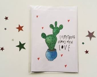 Everything Grows with Love Cactus A6 Greetings Card