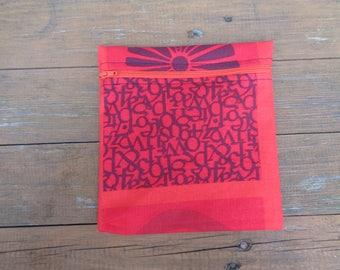 Sunburst Red 3 Fabric Medium Poppins Waterproof Lined Zip Pouch - Sandwich bag - Eco - Snack Bag - Bikini Bag - Lunch Bag - Tool Bag - Swim