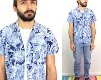 BATIK Shirt Vintage 80s Bold Floral BLUE Geometric HAWAIIAN Crazy Print Shirt Small Medium Loose Fit Button Up Summer Cotton Shirt Concorde
