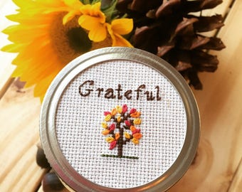 Gratitude Mason Jar, Mason Jar Decor, Thanksgiving Mason Jar, Fall Decor, Cross Stitch Mason Jar Lid