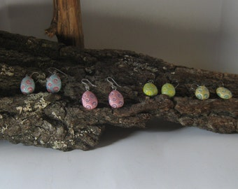 Hypoallergenic,Handpainted 1 of a Kind,Easter Egg Earrings, Easter Earrings,Nickel Free,Choice of Titanium, Niobium or Nylon French Hooks