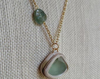Green Fluorite Necklace - Aquamarine Necklace