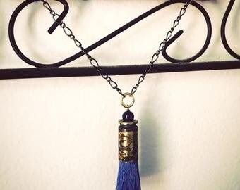 Etched Blue Tassel Necklace- Lapis Lazuli- .40 S&W