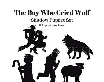 Instant Download, The Boy Who Cried Wolf- shadow puppet set