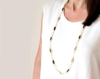 Vintage Flapper Style Necklace, 20s style gold black necklace, long gold necklace, Art Deco style Necklace, Party Jewelry