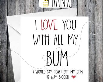Funny Rude LOVE CARD Birthday Anniversary Husband Wife Boyfriend Girlfriend BFF